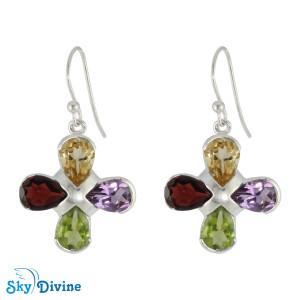 925 Sterling Silver Multi Stones Earring SDER2167 SkyDivine Jewellery
