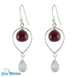 Sterling Silver moon stone Earring SDER2122h SkyDivine Jewellery