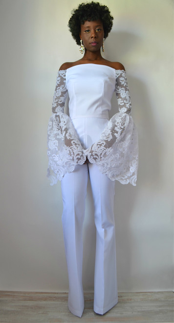 Savannah Lace Off The Shoulder Bridal Jumpsuit