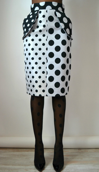 Daniela Tabois Two Tone High Waist Polka Dot Skirt (Front)