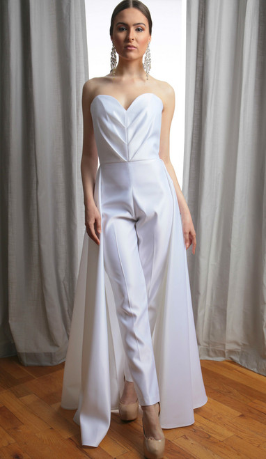 Vivian Pleated Sweetheart Strapless Bridal Jumpsuit (Front)