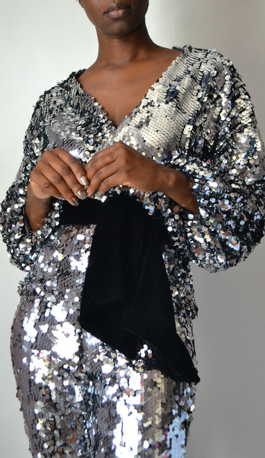 Silver Sequin Wrap Top
