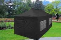 Black 10'x20' Pop up Tent with 6 Sidewalls - F Model Upgraded Frame