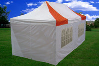 Red White 10'x20' Pop up Tent with 6 Sidewalls - F Model Upgraded Frame