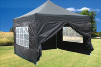 Black 10'x10' Pop up Tent with 4 Sidewalls - F Model Upgraded Frame