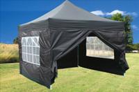 Black 10'x10' Pop up Tent with 4 Sidewalls - F Model Upgraded Frame
