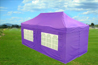 Purple 10'x20' Pop up Tent with 6 Sidewalls - F Model Upgraded Frame