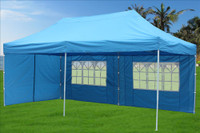 Sky Blue 10'x20' Pop up Tent with 6 Sidewalls - F Model Upgraded Frame
