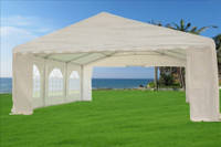 PE Party Tent 20'x20' with Waterproof Top - Heavy Duty Wedding Canopy - White