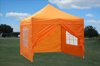 Orange 10'x10' Pop up Tent with 4 Sidewalls - F Model Upgraded Frame