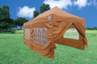 Burnt Orange 10'x20' Pop up Tent with 6 Sidewalls - F Model Upgraded Frame
