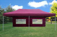 Maroon 10'x20' Pop up Tent with 6 Sidewalls - F Model Upgraded Frame