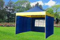 Navy Blue Yellow 10'x10' Pop up Tent with 4 Sidewalls - F Model Upgraded Frame