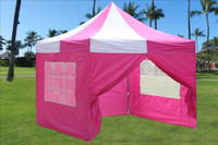 Pink White 10'x10' Pop up Tent with 4 Sidewalls - E Model