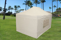 White 10'x15' Pop up Tent with 4 Sidewalls - E Model