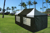 Black White 10'x20' Pop up Tent with 6 Sidewalls - E Model