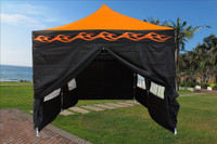 Orange Flame 10'x20' Pop up Tent with 6 Sidewalls - F Model Upgraded Frame