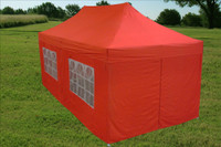 Red 10'x20' Pop up Tent with 6 Sidewalls - E Model