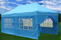 Sky Blue 10'x20' Pop up Tent ith 6 Sidewalls - E Model