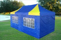 Blue Yellow 10'x20' Pop up Tent with 6 Sidewalls - E Model