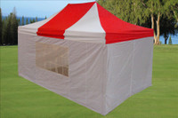 Red White 10'x15' Pop up Tents  with 4 Sidewalls - F Model Upgraded Frame