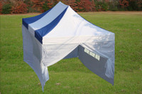 Blue White 10'x15' Pop up Tent with 4 Sidewalls - F Model Upgraded Frame