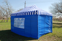 Blue Stripe 10'x15' Pop up Tent with 4 Sidewalls - E Model