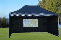 Black Checker 10'x15' Pop up Tent with 4 Sidewalls - E Model