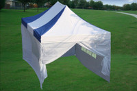 Blue White 10'x15' Pop up Tent with 4 Sidewalls - E Model