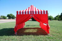 Red Stripe 10'x15' Pop up Tent with 4 Sidewalls - E Model