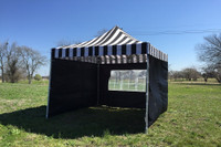 Black Stripe 10'x10' Pop up Tent with 4 Sidewalls - F Model Upgraded Frame
