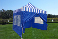 Blue Stripe 10'x10' Pop up Tent with 4 Sidewalls - E Model