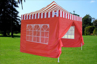 Red Stripe 10'x10' Pop up Tent with 4 Sidewalls - E Model