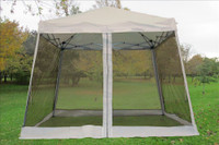 8'x8'/10'x10' White Slant Leg - Pop up Tent with Mosquito Net