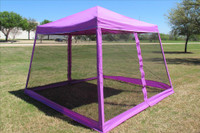 8'x8'/10'x10' Purple Slant Leg - Pop up Tent with Mosquito Net