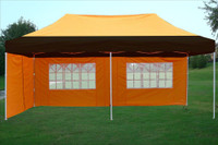 Black Orange 10'x20' Pop up Tent with 6 Sidewalls - F Model Upgraded Frame