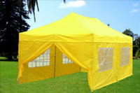 Yellow 10'x20' Pop up Tent with 6 Sidewalls - F Model Upgraded Frame