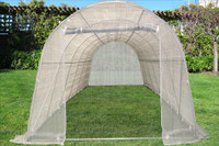 Greenhouse 20'x10' Round w Sun Shade Cover - Walk In Nursery