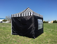 Black Stripe 10'x10' Pop up Tent with 4 Sidewalls - E Model