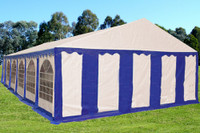 PE Party Tent 40'x20' - Heavy Duty Wedding Canopy - Blue White