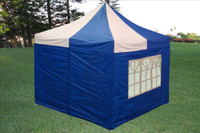 Blue White 10'x10' Pop up Tent with 4 Sidewalls - F Model Upgraded Frame