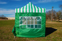 Green Stripe 10'x10' Pop up Tent with 4 Sidewalls - E Model
