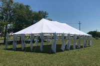 40'x25' Pole Tent Polyester - Heavy Duty Fire-Retardant Party Tent - White