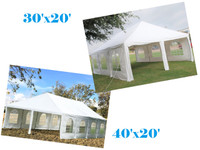 Frame PE Tent Wedding Party Canopy Shelter White - Storage Bags Included - 30'x20', 40'x20'