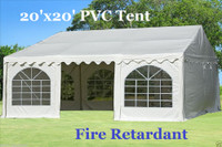 20'x20' PVC Party Tent (FR) Wedding Canopy Shelter -  Fire Retardant - White