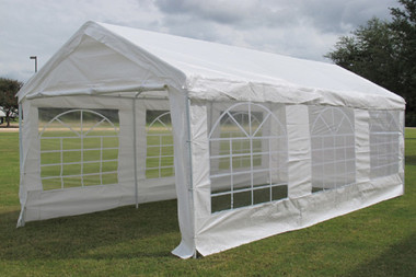 Image 1 & White 20u0027x10u0027 PE Party Tent / Carport