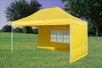 Yellow 10'x15' Pop up Tent  with 4 Sidewalls - F Model Upgraded Frame