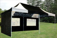 Black White 10'x20' Pop Up Tent with 6 Sidewalls - F Model Upgraded Frame