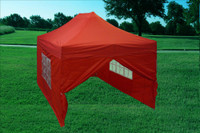 Red 10'x15' Pop up tent with 4 Sidewalls - F Model Upgraded Frame