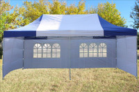 Blue White 10'x20' Pop up Tent with 6 Sidewalls - F Model Upgraded Frame